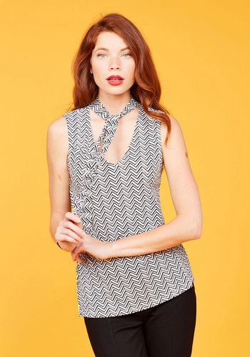 Bold-Faced Tie Tank Top in Chevron