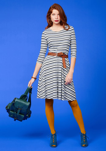 Getting Down to the Knitty Pretty Striped Dress by ModCloth - Multi, Grey, Stripes, Print, Work, Vintage Inspired, 70s, A-line, Sweater Dress, 3/4 Sleeve, Fall, Knit, Better, Exclusives, Private Label, Grey, Mid-length, Store 2, ModCloth Label
