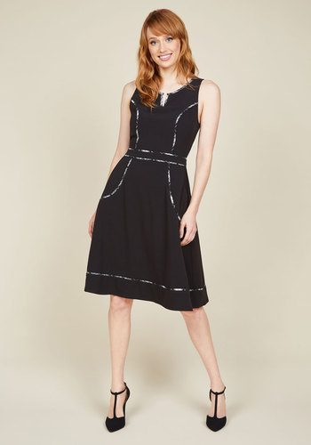 A Lot to Author A-Line Dress in Black by ModCloth - Black, Solid, Pockets, Work, A-line, Sleeveless, Fall, Woven, Best, Exclusives, Private Label, Long, Trim, 50s, Minimal, HP Featured, Mod