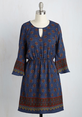 Muse Wisely A-Line Dress - Multi, Blue, Print, Global, Casual, Boho, A-line, 3/4 Sleeve, Fall, Woven, Better, Blue, Mid-length