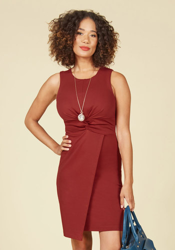 Meeting Maven Sheath Dress in Rust - Red, Solid, Work, Sheath, Sleeveless, Fall, Knit, Better, Mid-length