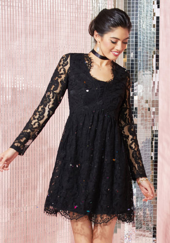 Chic, Myself, and I Lace Dress in Noir - Black, Solid, Party, Girls Night Out, Wedding Guest, A-line, Long Sleeve, Lace, Best, Exclusives, V Neck, Mid-length, Lace, Halloween, Homecoming, LBD, Winter, Steampunk