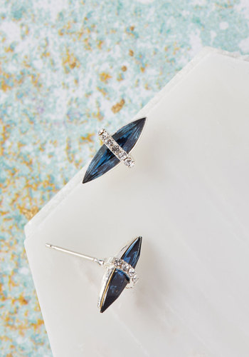 Delicate Aspects Earrings by Lover's Tempo - Silver, Blue, Solid, Rhinestones, Store 2