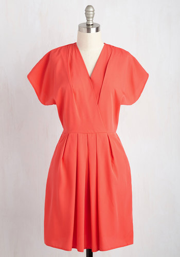 I Come in Pleats A-Line Dress by Closet London - Coral, Solid, Work, Daytime Party, Vintage Inspired, 40s, 50s, A-line, Shirt Dress, Short Sleeves, Fall, Woven, Better, Mid-length