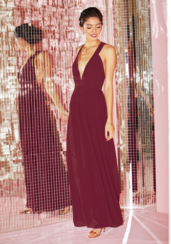 Glamour Out the Details Maxi Dress in Burgundy - Red, Solid, Pleats, Wedding, Bridesmaid, A-line, Maxi, Sleeveless, Woven, Best, V Neck, Long, Variation, Homecoming, Saturated