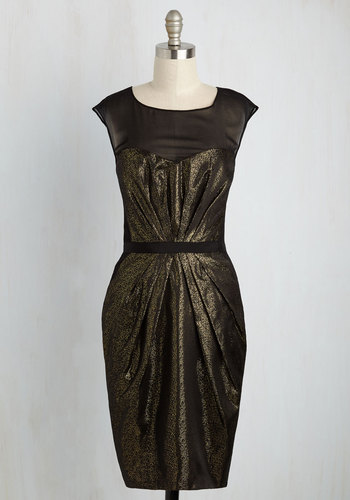 Aglow with Glamour Sheath Dress by Wendy Bird - Black, Gold, Long, Woven, Solid, Party, Cocktail, Girls Night Out, Holiday Party, Sheath, Cap Sleeves, Fall, Winter, Best, Scoop, LBD, Sheer
