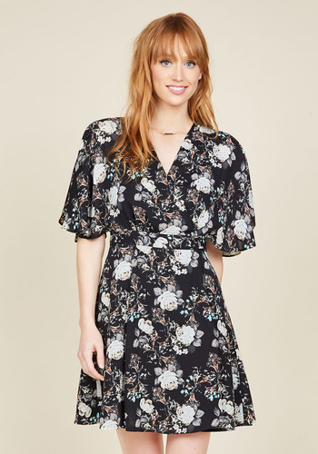 Food District Date Floral Dress - Multi, Black, Floral, Print, Casual, Daytime Party, Boho, A-line, Short Sleeves, Fall, Woven, Better, Black, Mid-length