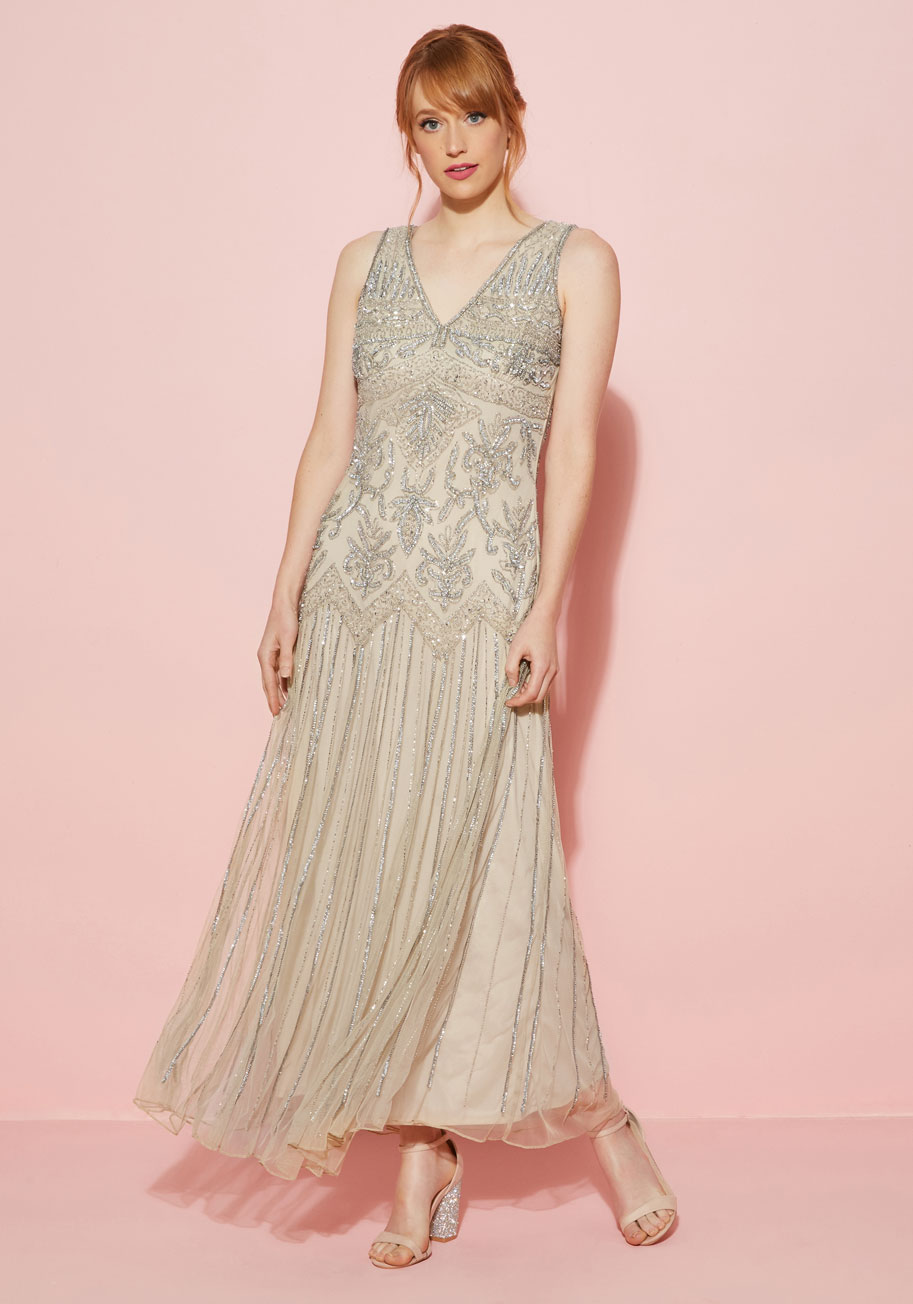1920sFormalDressesGuide All Aisles on You Dress in Champagne $250.00 AT vintagedancer.com