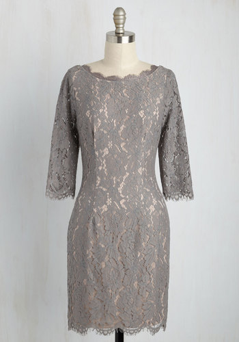 Lace Database Sheath Dress in Smoke - Knit, Lace, Mid-length, Grey, Solid, Party, Cocktail, Girls Night Out, Wedding Guest, Sheath, 3/4 Sleeve, Spring, Summer, Fall, Winter, Best, Scoop, Lace