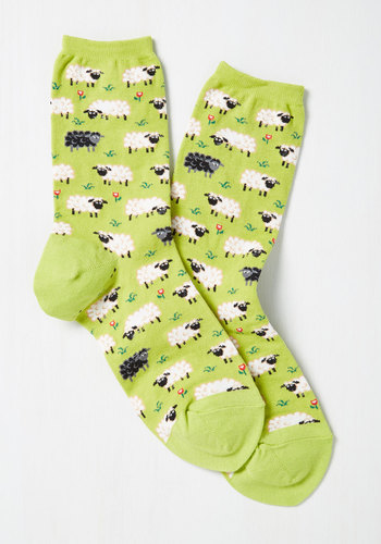 It's All Sheep to Me Socks - Green, Multi, Print with Animals, Critters, Good, Knit, Casual, Quirky, Top Rated, Store 1