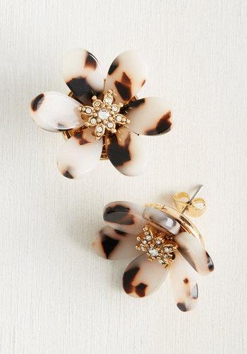 Petal Down Earrings in Ivory - Work, Metal, Plastic, Brown, Gold, Animal Print, Rhinestones, Darling, Fall, Winter, Gold, Gals
