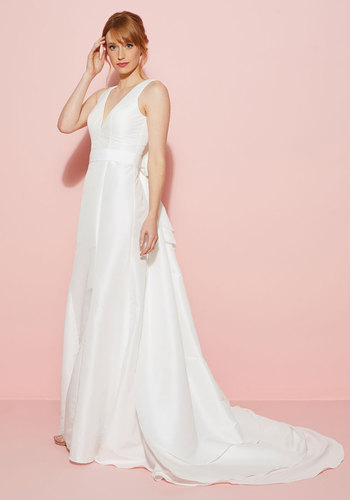You May Now Bliss the Bride Maxi Dress in White - White, Bows, Special Occasion, A-line, Maxi, Sleeveless, Woven, Exceptional, Prom, Long, Bride
