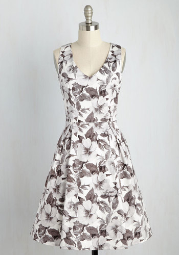 Fabulously Established Floral Dress in Monochrome - Multi, White, Floral, Print, Holiday Party, Daytime Party, Wedding Guest, Fit & Flare, Sleeveless, Spring, Summer, Fall, Winter, Woven, Best, Exclusives, V Neck, White, Mid-length, Grey