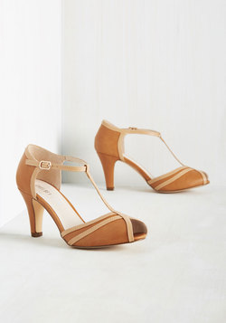 Earn Your Peep T-Strap Heel in Caramel