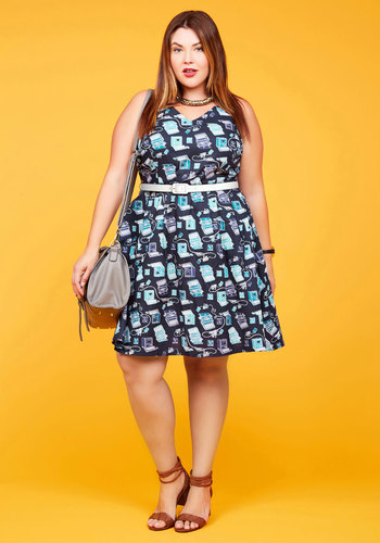 Turn Back Timeless A-Line Dress in Typist by ModCloth - Novelty Print, Print, Daytime Party, Vintage Inspired, Nifty Nerd, Fit & Flare, Sleeveless, Fall, Woven, Best, Exclusives, Private Label, Multi, Cotton, Mid-length, Blue, Belted, Work, Casual, Sundress, 50s, 60s, Mid-Century, V Neck, Pockets, Store 2, ModCloth Label