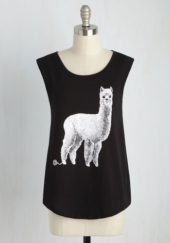 Alpaca Your Bags Tee - Black, Sleeveless, Mid-length, Cotton, Knit, Black, Casual, Quirky, Critters, Cap Sleeves, Summer, Scoop, Top Rated, Lounge