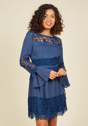 Glam Changer Lace Dress - Blue, Solid, Lace, Work, Casual, Daytime Party, Boho, A-line, Long Sleeve, Fall, Woven, Lace, Better, Mid-length
