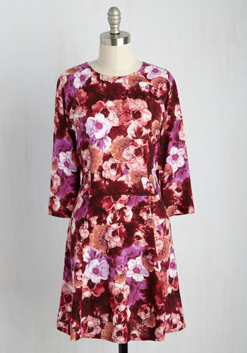 Isle Check It Out Floral Dress in Magenta Blooms - Red, Floral, Print, Casual, A-line, 3/4 Sleeve, Fall, Woven, Better, Mid-length