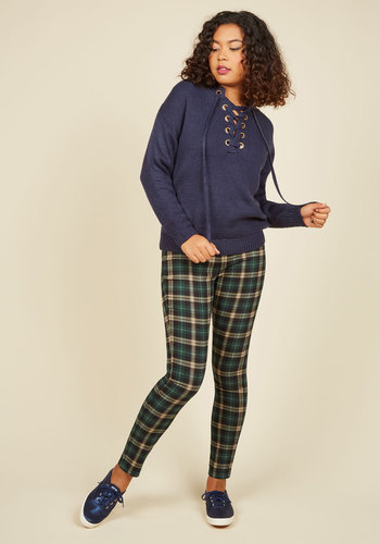 Slow and Edgy Wins the Race Pants in Green Plaid