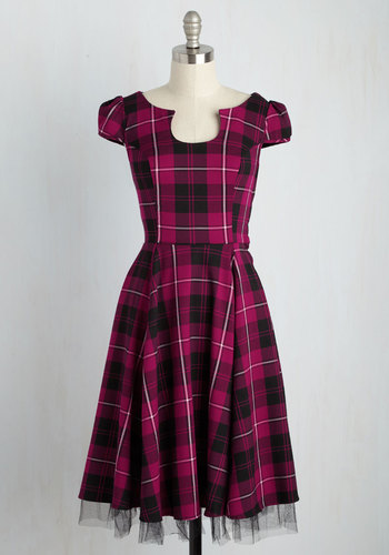 Showtime of Your Life A-Line Dress in Fuchsia - Black, Plaid, Print, Daytime Party, Rockabilly, Pinup, Vintage Inspired, 50s, Fit & Flare, Short Sleeves, Fall, Woven, Best, Pink