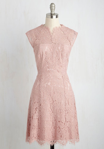 Celebrate Success Lace Dress in Petal - Pink, Solid, Party, Wedding Guest, Sheath, Short Sleeves, Lace, Better, Exclusives, Crew, Woven, Mid-length, Homecoming, Pastel, Lace