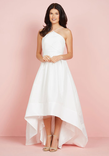 The Exchanging of Wows Maxi Dress in White - White, Solid, Special Occasion, A-line, High-Low Hem, Sleeveless, Woven, Exceptional, Halter, Long, Spring, Summer, Bride