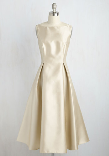 Careful What You Lavish For Midi Dress in Champagne by Adrianna Papell - Woven, Long, Gold, Pleats, Special Occasion, Prom, Holiday Party, Homecoming, Wedding Guest, 50s, Luxe, Fit & Flare, Sleeveless, Boat