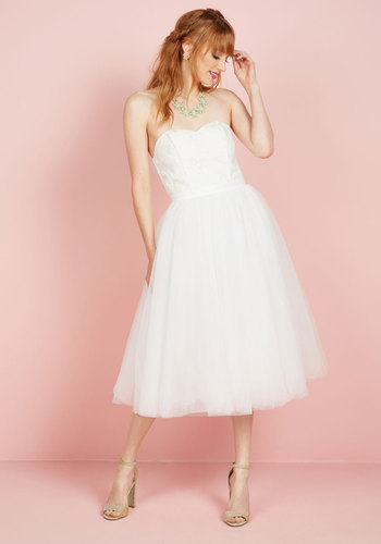 A Love Above the Rest Fit and Flare Dress in White - White, Solid, Crochet, Strapless, Woven, Exceptional, Sweetheart, Long, Prom, Fit & Flare, Spring, Summer, Winter, Homecoming, Bride