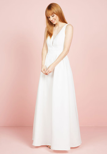 Allure I've Dreamed Of Maxi Dress in White - White, Solid, Backless, Special Occasion, Wedding, Bride, Maxi, Tank top (2 thick straps), Woven, Exceptional, V Neck, Long, Prom, Fit & Flare, Sleeveless, Spring, Summer, Cutout, A-line