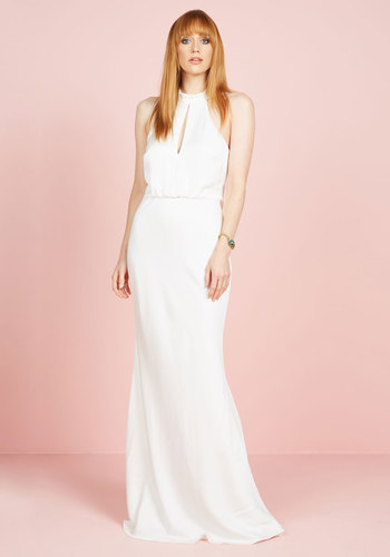 Magnificent Mrs. Maxi Dress in White - White, Solid, Cutout, Wedding, Cocktail, Bride, Maxi, Sleeveless, Woven, Exceptional, Cowl