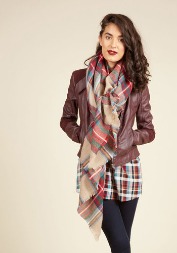 Loch and Key Scarf in Taupe Plaid