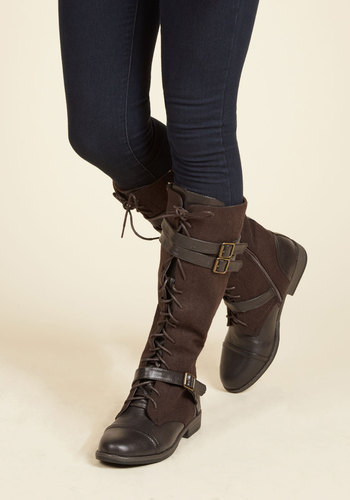 Band at Attention Boots in Brown