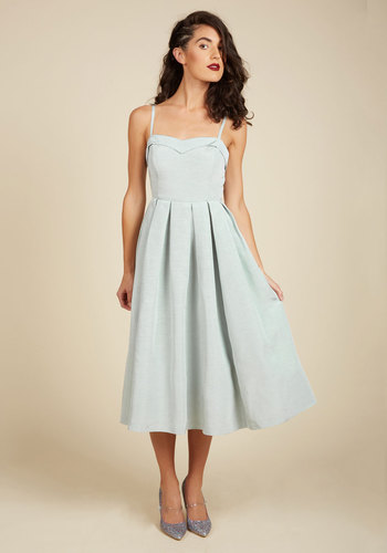 Convivial Connection Midi Dress in Mist - Green, Solid, Buttons, Party, Cocktail, Daytime Party, Wedding Guest, Vintage Inspired, 50s, Fit & Flare, Sleeveless, Spring, Summer, Woven, Best, Exclusives, ModCloth Label, Halter, Wedding, Bridesmaid, Long, Best Seller, Best Seller, Holiday Party