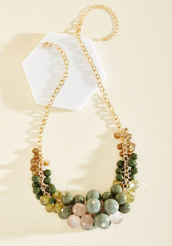 Baubles of Fun Necklace - Metal, Green, Gold, Blush, Beads, Party, Work, Statement, Gold