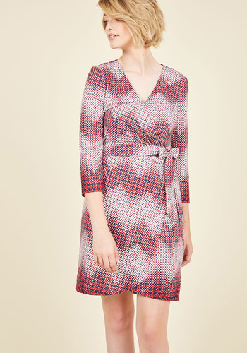 Transformative Tutorial Wrap Dress by ModCloth - Red, Houndstooth, Print, Work, Wrap, Long Sleeve, Fall, Knit, Best, Exclusives, Private Label, Mid-length, HP Featured, Mod, ModCloth Label, Tis the Season Sale