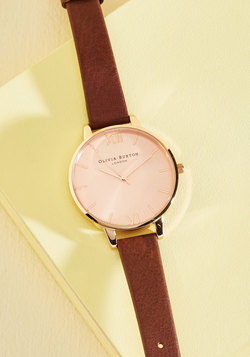 Time Floats By Watch in Brown & Rose Gold - Big