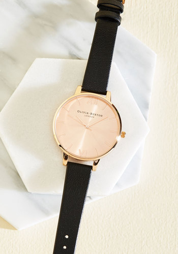 Undisputed Class Watch in Black & Rose Gold - Big by Olivia Burton - Black, Solid, Luxe, Copper, Best, International Designer, Minimal, Work, Gals, Gifts2015, Top Rated, Summer, Luxe Gifts