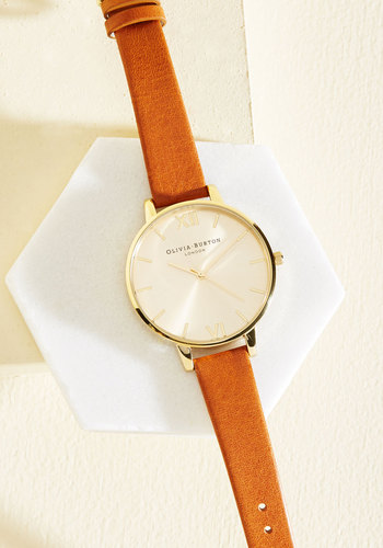 Time Floats By Watch in Tan & Gold - Big by Olivia Burton - Solid, Gold, Best, Luxe, International Designer, Leather, Brown, Work, Graduation, Gals, Winter, Luxe Gifts, Tis the Season Sale