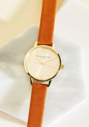 Time Floats By Watch in Tan & Gold - Midi by Olivia Burton - Leather, Solid, Minimal, Tan, Gold, International Designer, Work, Top Rated, Gifts2015, Gals, Nautical