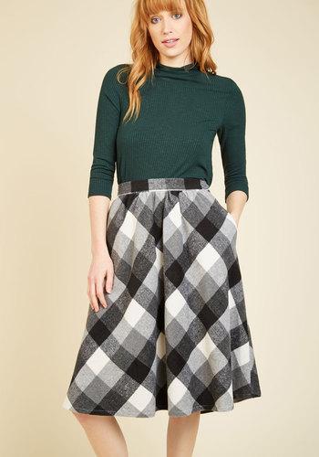 1940s Style Skirts Sunday Sojourn Skirt in Black Plaid $69.99 AT vintagedancer.com