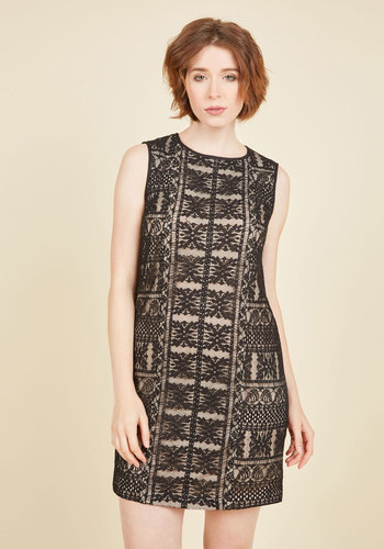 Desired Reservation Lace Dress - Black, Solid, Party, Shift, Sleeveless, Knit, Lace, Best, Scoop, Fall, Winter, Homecoming, 20s, Lace