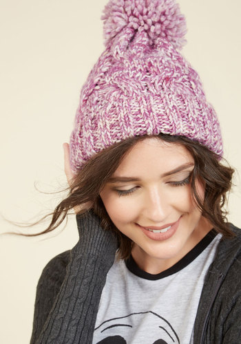 Hat It Up to Here in Berry - Purple, Knitted, Poms, Fall, Better, Tis the Season Sale