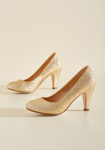 1930sStyleShoes In a Classic of Its Own Heel in Gold Sparkle $39.99 AT vintagedancer.com