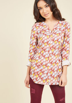 Trusty Travel Button-Up Top in Cat Lady