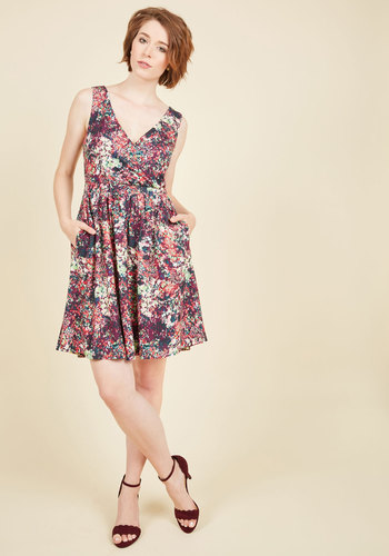 Grove for the Fences A-Line Dress by ModCloth - Purple, Print, Daytime Party, A-line, Sleeveless, Fall, Better, Exclusives, Private Label, Knit, Mid-length, ModCloth Label, Pockets