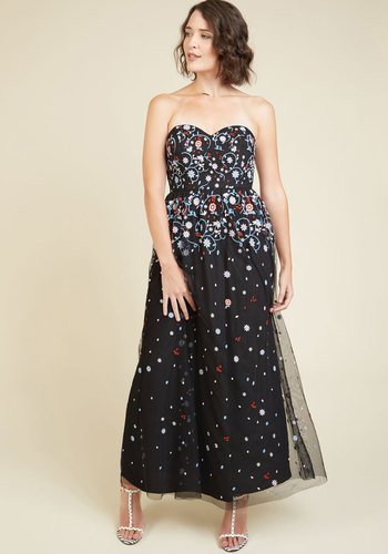 For Bliss I'm Grateful Maxi Dress by ModCloth - Multi, Black, Solid, Embroidery, Special Occasion, A-line, Maxi, Strapless, Woven, Exceptional, Exclusives, Sweetheart, Black, Long, ModCloth Label, Holiday Party, Sheer