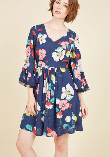 Through the Bluebells Dress in Retro Floral by ModCloth - Multi, Blue, Floral, Print, Casual, Vintage Inspired, 70s, A-line, Long Sleeve, Fall, Woven, Best, Exclusives, Private Label, Blue, Mid-length, Ruffles, Daytime Party, Boho
