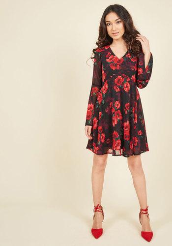 Dish the Flirt Floral Dress - Black, Red, Floral, Print, Casual, Boho, A-line, Long Sleeve, Fall, Woven, Better, Mid-length, Tis the Season Sale