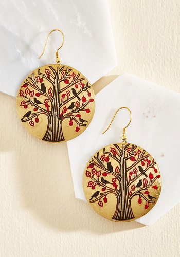 Under Lock and Tree Earrings by Mata Traders - Metal, Best Seller, Best Seller, Fall, Gold, Red, Statement, Nature, Gold