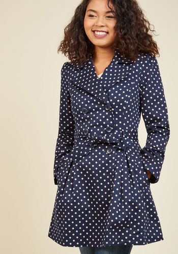 Capital Class Trench in Dots by ModCloth - Blue, Tan / Cream, Polka Dots, Buttons, Pockets, Belted, Long Sleeve, Spring, Fall, Exclusives, Private Label, Tis the Season Sale, 50s, 60s, Colorsplash, Nautical, Work, Casual, Vintage Inspired, Long, Print, 70s, Summer, Winter, Woven, Good, Best Seller, Saturated, 2, Fit & Flare, ModCloth Label